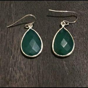Jewelry - Sterling silver emerald drop earrings