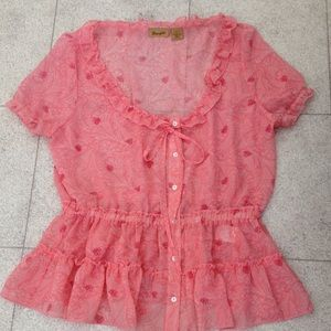 Wrangler Tops - Wrangler Pink sheer blouse or coverup with detail.