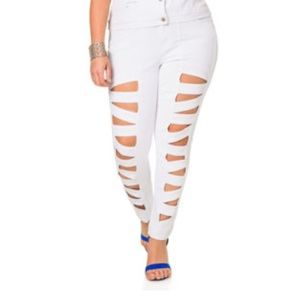 Denim - Lattice cute skinny jeans white
