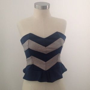 Lucca Couture Tops - Lucca Couture navy/ grey tube top with ruffle