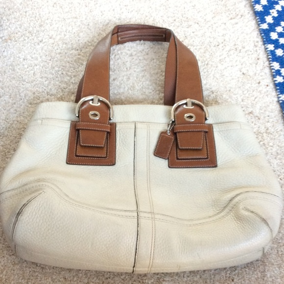 Coach Handbags - Large cream &brown Coach bag