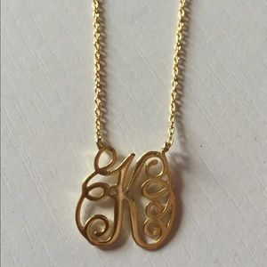 "Sterling silver gold plated initial necklace ""K"""