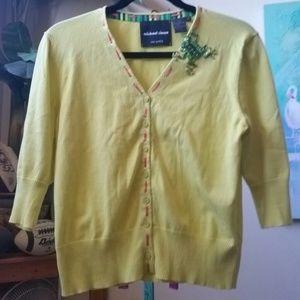 Neon Green/Yellow Frog Cardigan/Pullover EUC