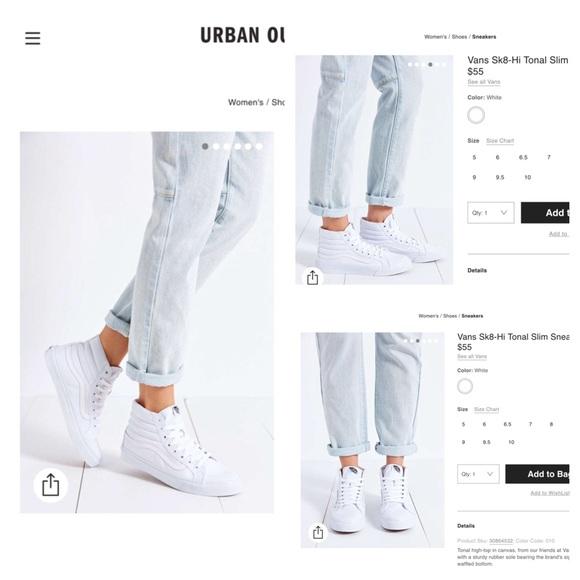 5f6b73c280 Vans Sk8-Hi Tonal Slim White Canvas Sneakers