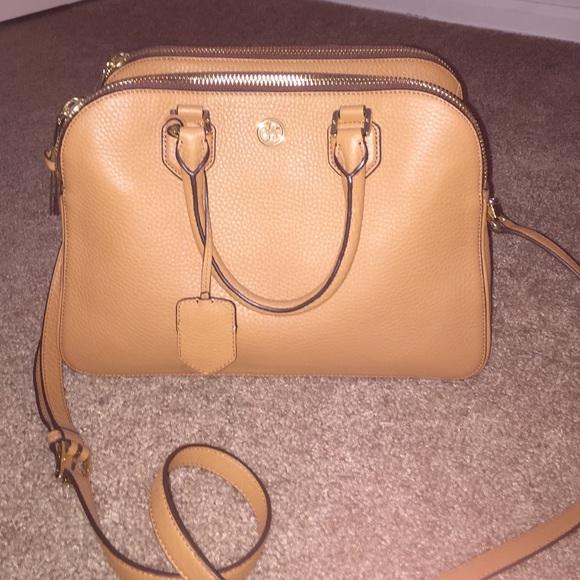 2714fad7a14 Tory Burch Tigers Eye Robinson triple zip satchel.  M 5675dd2e51e9eaa53601173d