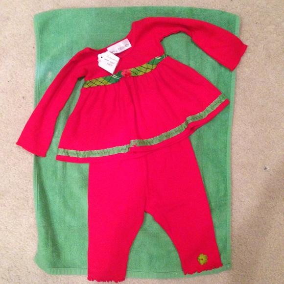 c450af1e4e8422 Perfect Christmas +red plaid trim 2 piece size 9mo. NWT. Tony Tierney
