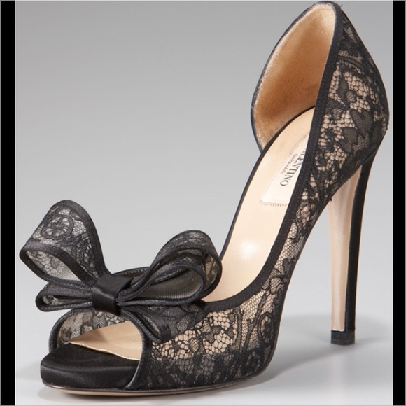 Black lace heels with bow - photo#20