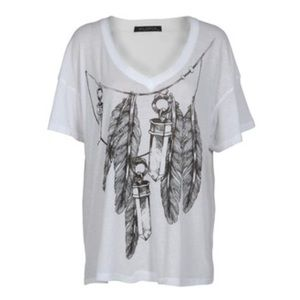 WILDFOX Oversized feather & crystal t-shirt