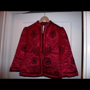 Nanette Lepore 100%silk embroidered jacket (red)