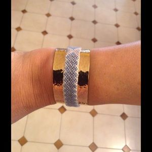 Gold/blue cloth Cuff Bracelet