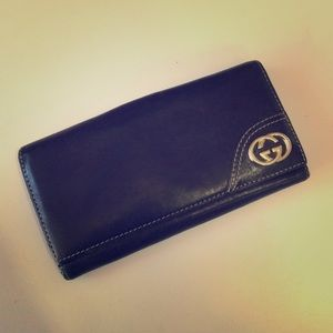 AUTH Vintage GUCCI Leather Checkbook Wallet