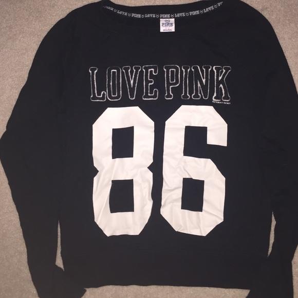 58% off PINK Victoria's Secret Sweaters - Black VS PINK Crew Neck ...