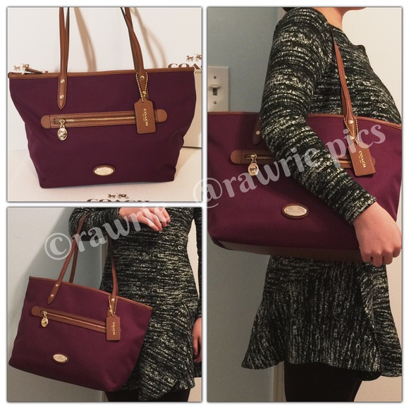 CLEARANCE New Coach fabric zip tote burgundy plum 4a427b9df51dd