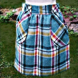 Vintage 1960s Fully Lined Wool Plaid Skirt