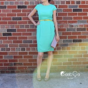 Dresses & Skirts - Emerald Green Sheath Cocktail Dress with Pockets