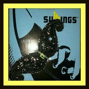 SHWINGS Accessories - SHWINGS Black Foil Mustache Shoe Wings