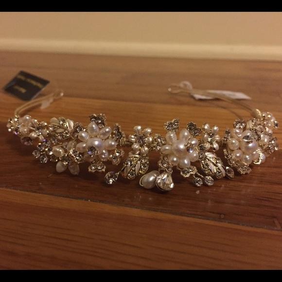 David s bridal headpiece gold pearl Tiara 7a0ee6fec28