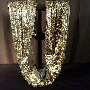 Accessories - GOLD SEQUIN INFINITY SCARF