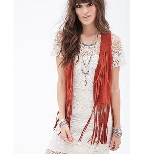 100% Suede Burnt Red Fringe Vest SZ S