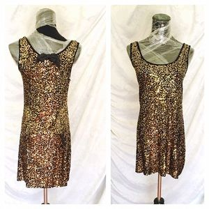 Gold/Black sequins Mini Dress, NWOT, size s