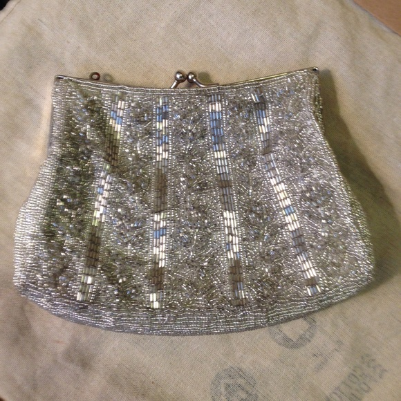 72% off Carlo Fellini Handbags - Silver beaded evening bag clutch ...