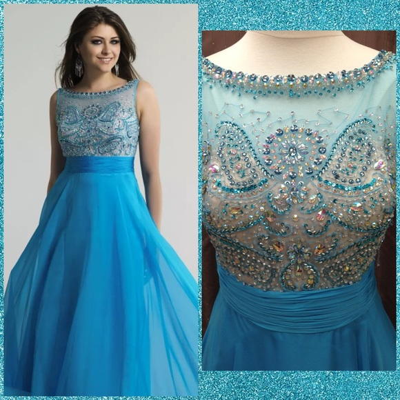 Dave & Johnny Dresses | Dave Johnny Turquoise Prom Dress Size 1516 ...