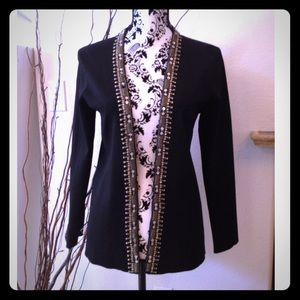 Chico Black silky knit embellished cardigan