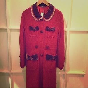 Marc Jacobs Jackets & Coats - Red Marc Jacobs coat with velvet detail
