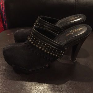 Isabella Fiore Shoes - SALE! Black suede studded Isabella Fiore clogs