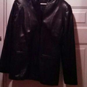 Elements by Vakko black leather jacket