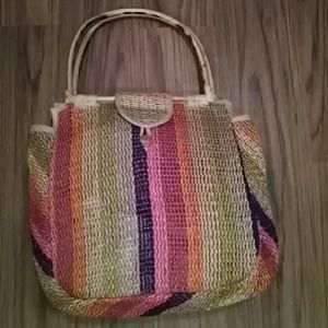Colorful straw bag with wooden handle
