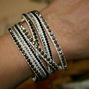 White leather wrap crystal rhinestone bracelet