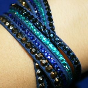Blue leather wrap bracelet crystal w/ rhinestones
