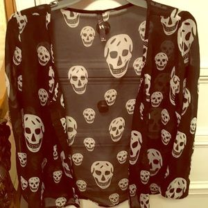 Skull sheer blouse.