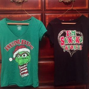 """Tops - $15 for """"TWO"""" Sparkly Christmas Tees"""