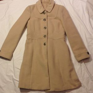 Cream wool blend coat with silver buttons