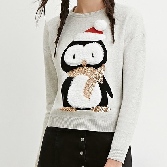 Forever 21 - Sequin Penguin Ugly Christmas Sweater from Michelle's ...