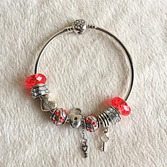 6645ca051 Pandora Jewelry | New Look Key 2 My Heart Red Charm Bracelet | Poshmark