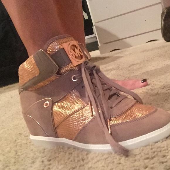Michael Kors Rose Gold And Tan Sneaker