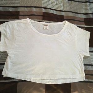 VS Pink white oversized crop T-shirt