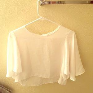 white semi sheer crop blouse