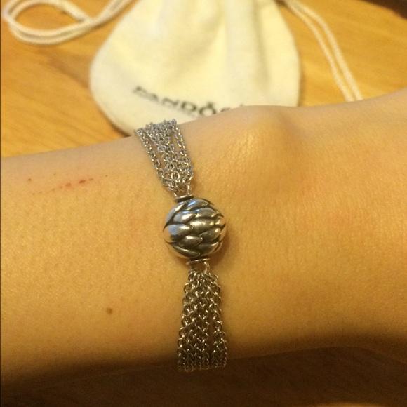 Pandora Jewelry Silver Multi Chain Clip Station Bracelet