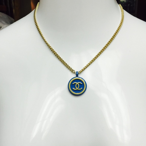 Chanel jewelry authentic blue gold round cc logo pendant poshmark authentic chanel blue gold round cc logo pendant aloadofball Image collections