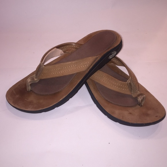 9c537da617ae Chaco Shoes - Women s Chacos Tan Leather Flip Flops Sandals