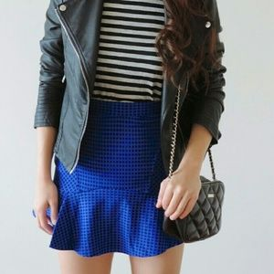Dresses & Skirts - Blue checkered fluted mini skirt