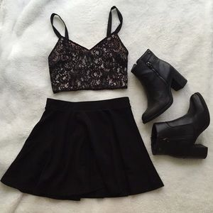 Express Black Lace Cage-Back Crop Top