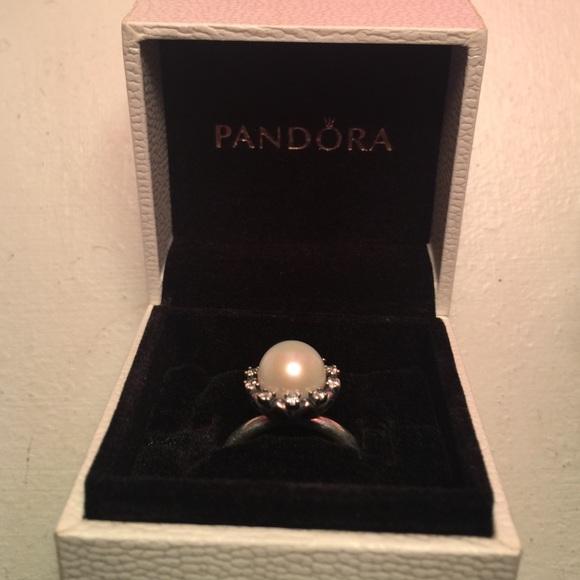 8072e4b44 ... Earrings, White Pearl Clear CZ 290562P Pandora Everlasting Grace Ring  Size 6 ...