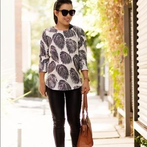 Tops - Black leaves print white blouse
