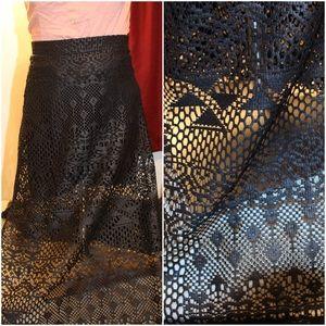 Black long double split Skirt