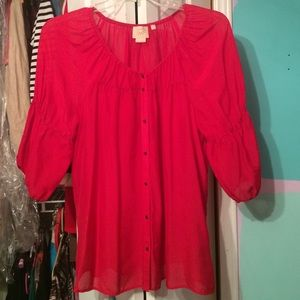 Anthropologie Vanessa Virginia Red Silk Blouse